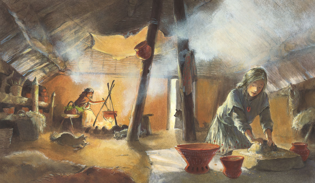 Brood kneden in de prehistorische boerderij.