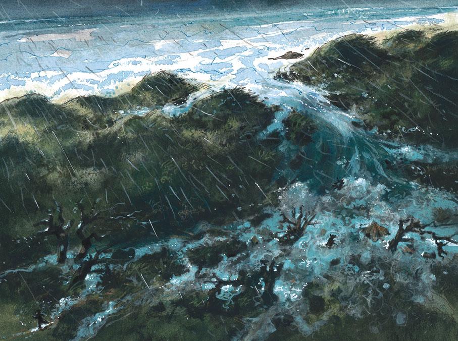 De Allerheiligenvloed in 1170 scheidt Texel van Holland...