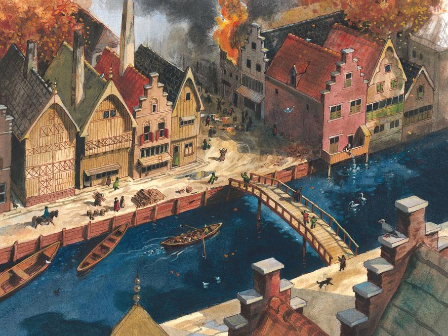 De overgang van houten huizen naar huizen van baksteen in een 15e eeuwse stad.
