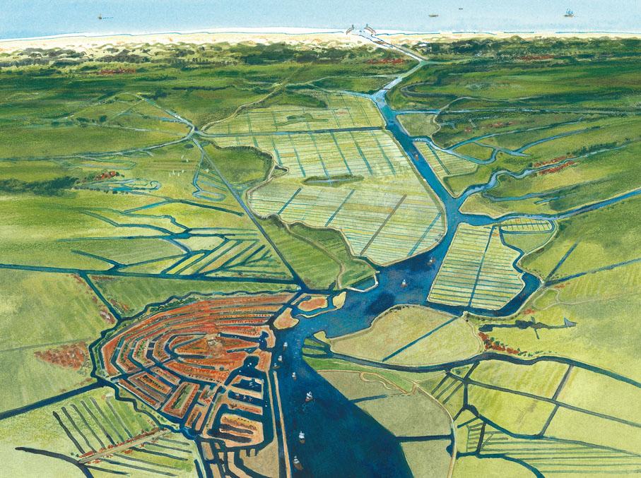 Noord-Holland vlak na de aanleg van het Noordzeekanaal in 1876. Verbinding van Amsterdam naar IJmuiden.